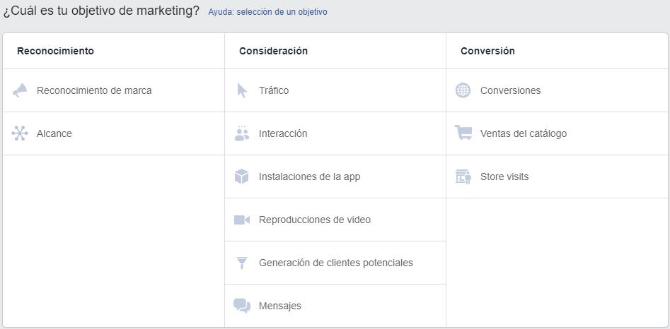 campañas en facebook ads objetivos de las campañas
